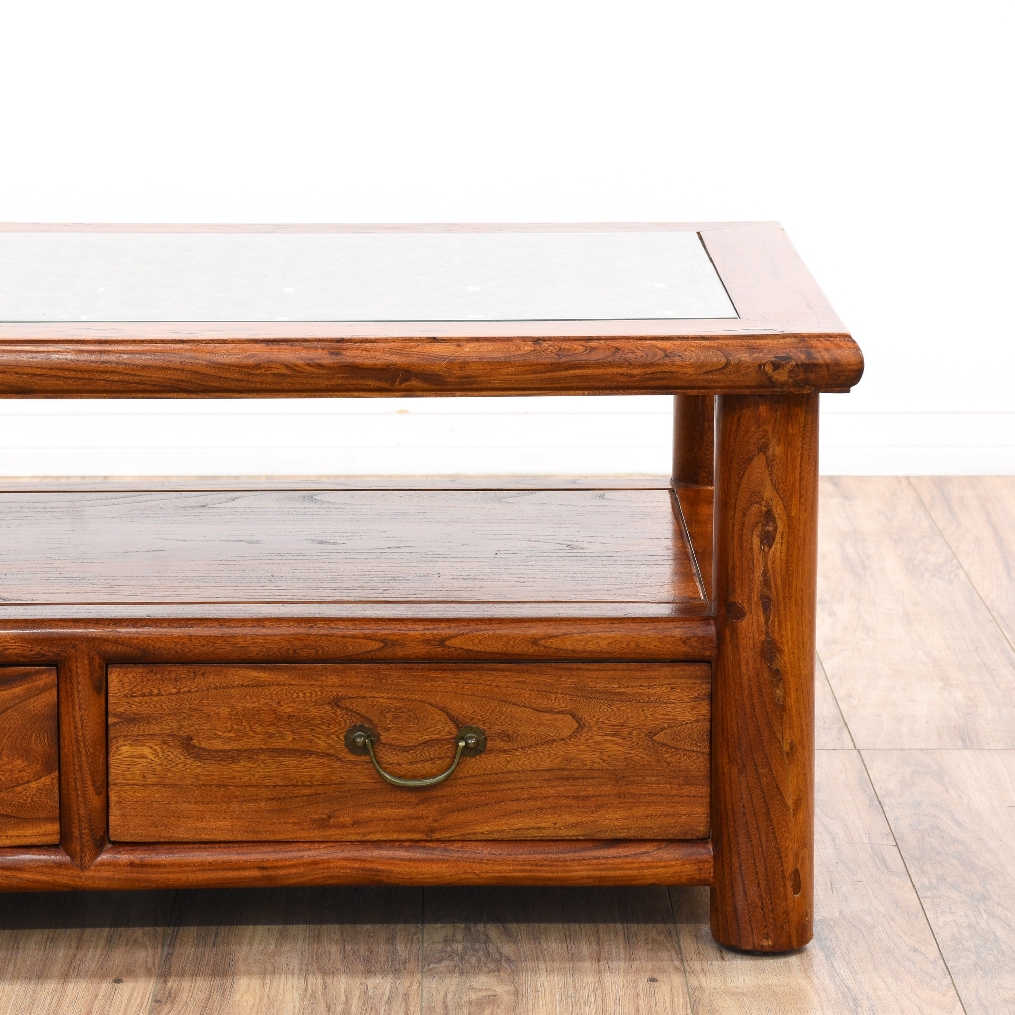 Carved Coffee Table Glass Top Chinese: Asian Carved Rosewood Tiered Coffee Table