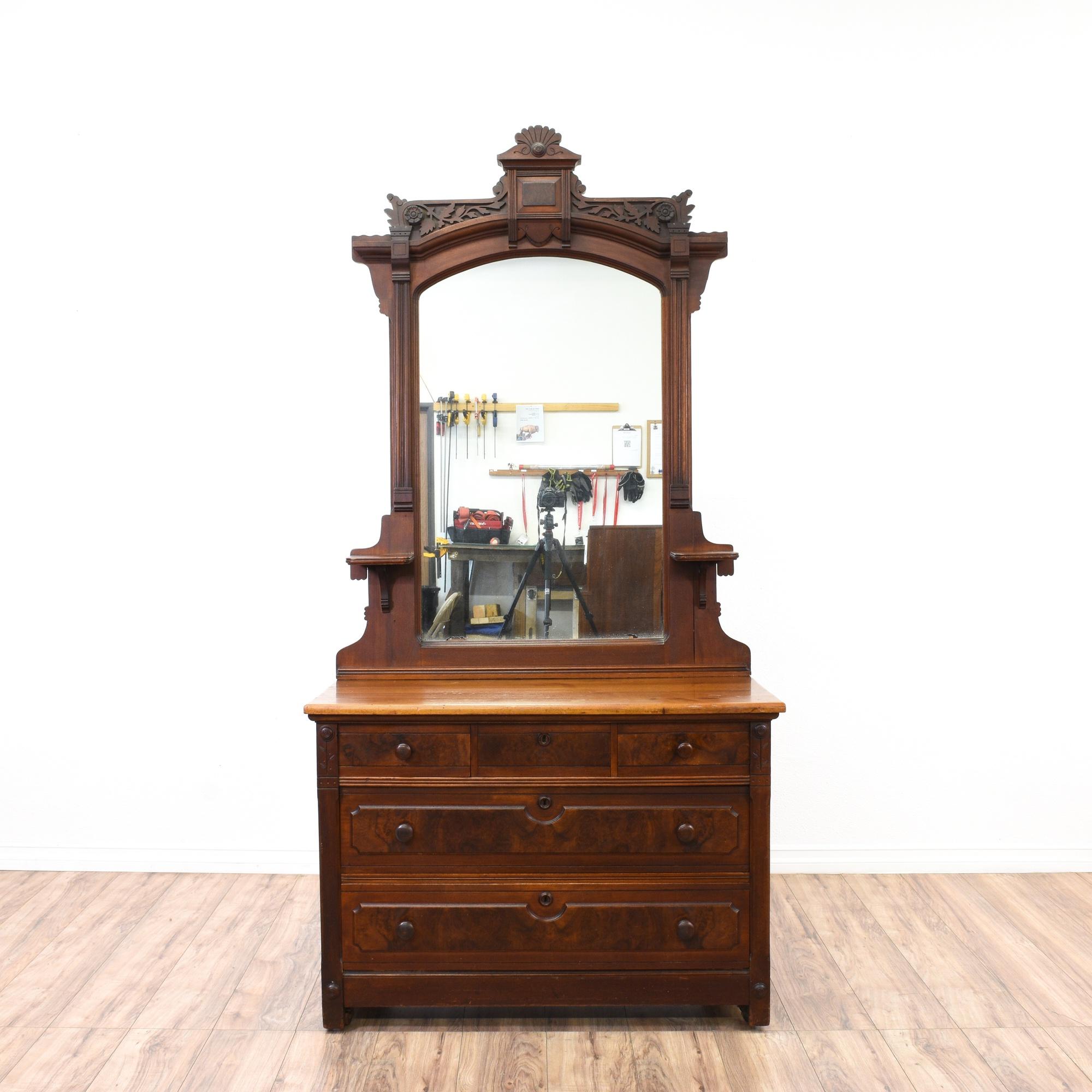 Eastlake burl wood dresser vanity w mirror loveseat