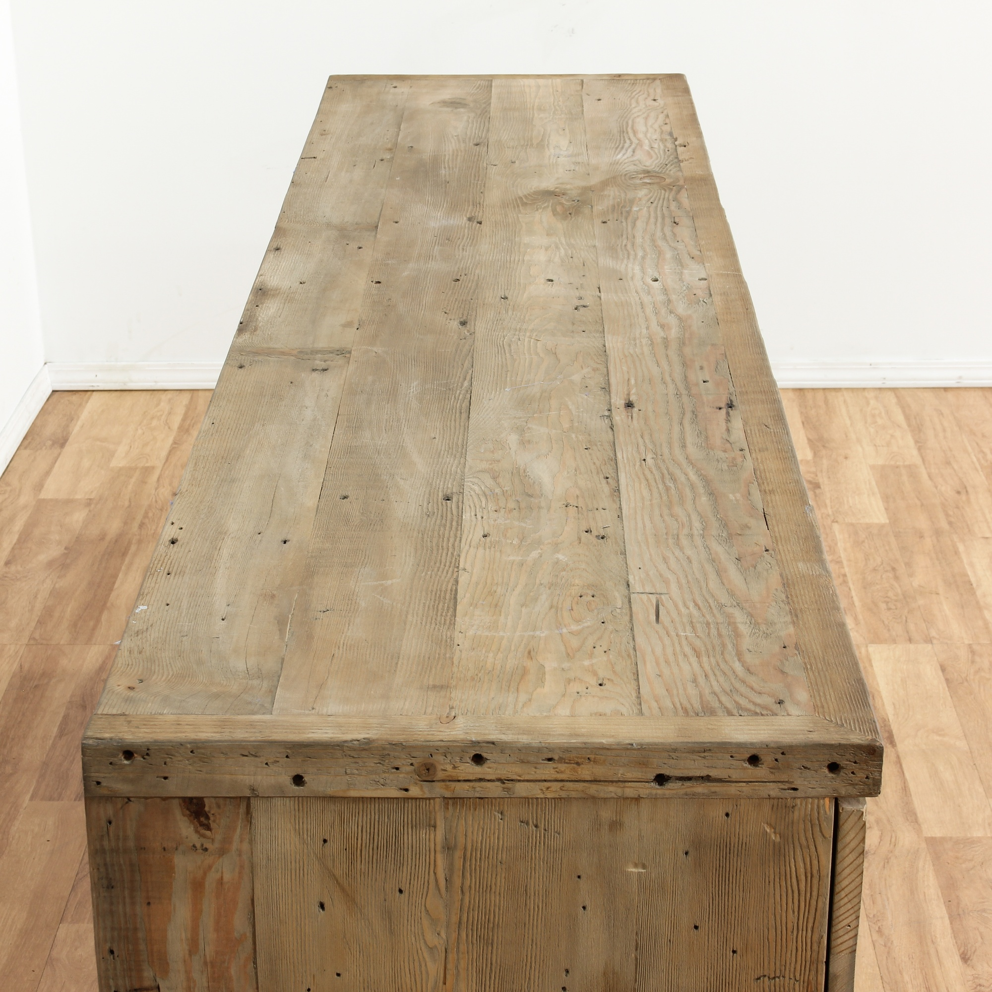 Contemporary Plank Top Raw Wood Sideboard Loveseat