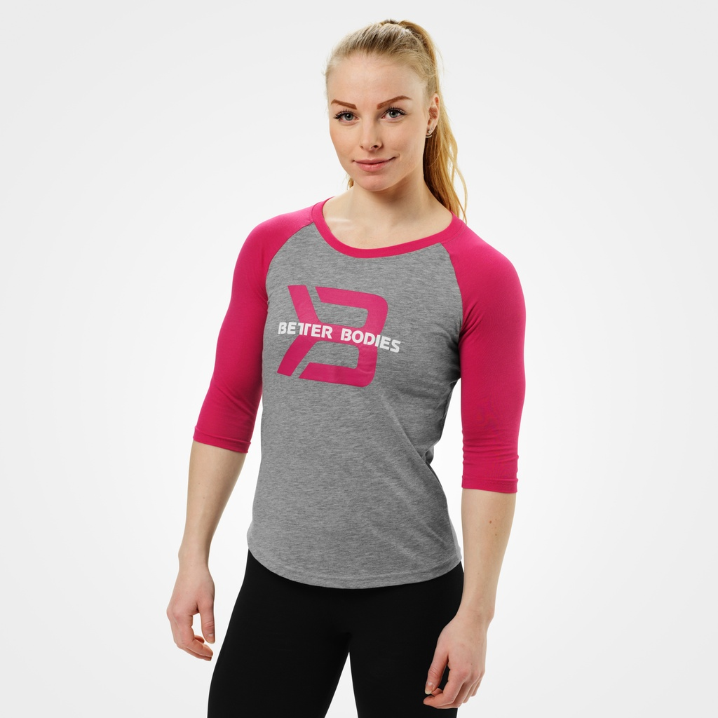 A product image of Womens baseball tee, Greymelange/pink