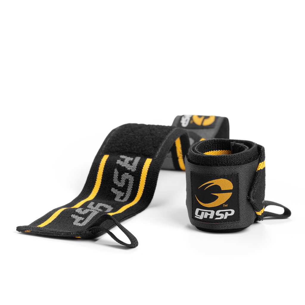 A product image of GASP wrist wraps, Black/yellow