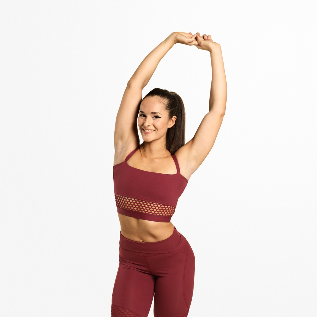 A product image of Waverly Mesh Bra, Sangria Red