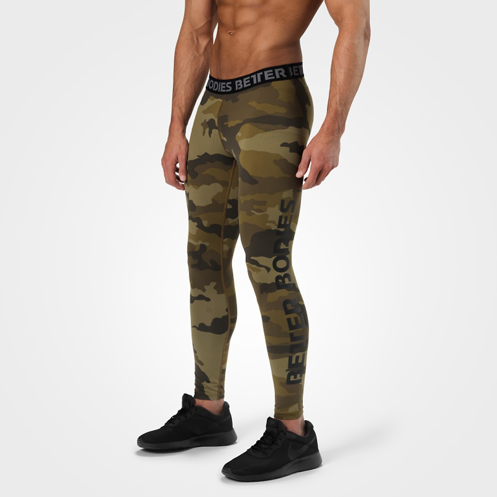A product image of Hudson logo tights, Dark green camo