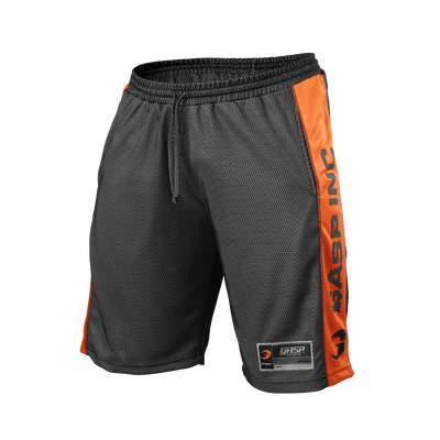 Product photo of No1 mesh shorts, black/flame