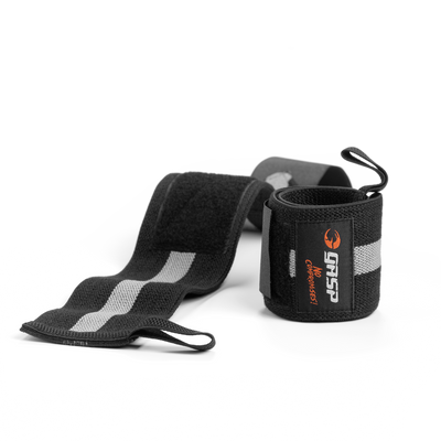 Product photo of GASP 1RM wrist wraps, Black/grey