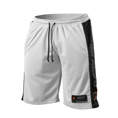 Product photo of No1 mesh shorts, white/black