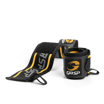 Product photo of GASP wrist wraps, Black/yellow