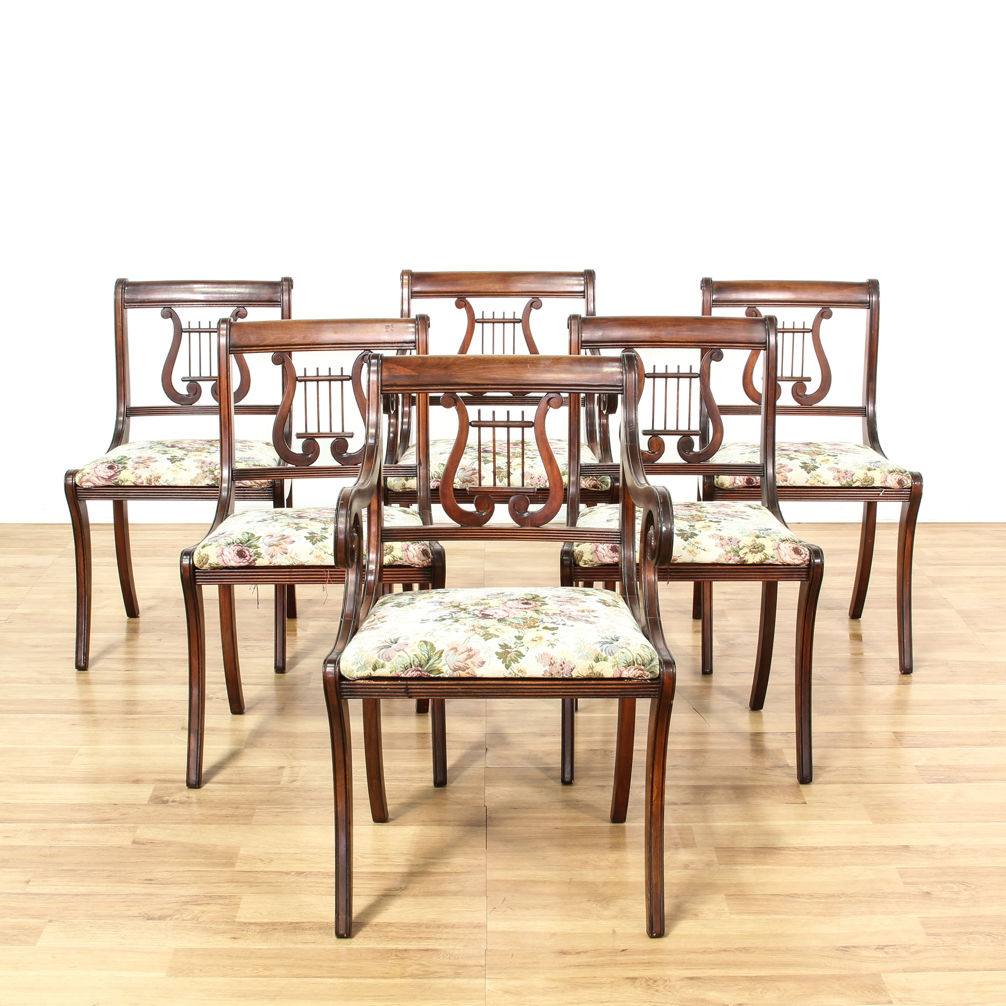 Set Of 6 Duncan Phyfe Lyre Back Dining Chairs | Loveseat Vintage Furniture  Los Angeles