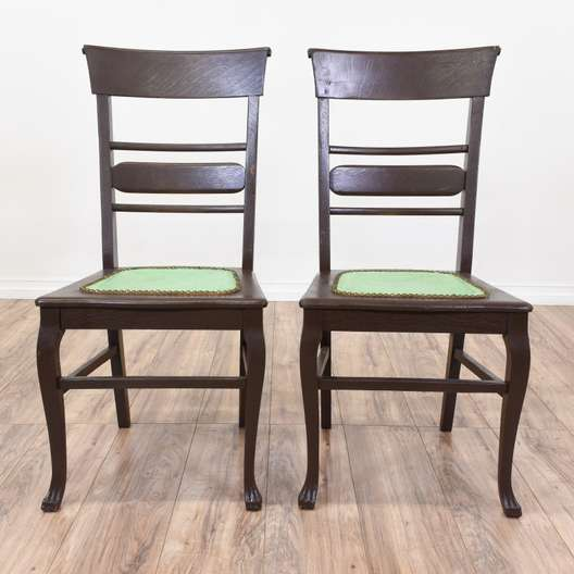 Pair of Green Embossed Leather Chairs