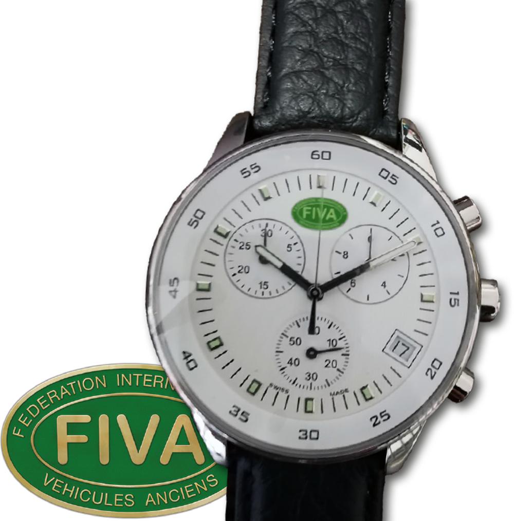 När du svarat på FIVAs enkät kommer du att få möjlighet att delta i utlottningen av fem FIVA-klockor. Klockan, med en diameter på 42 mm är ett klassiskt kvartsur tillverkat i Schweiz med datum, kronograf-funktion och läderarmband.