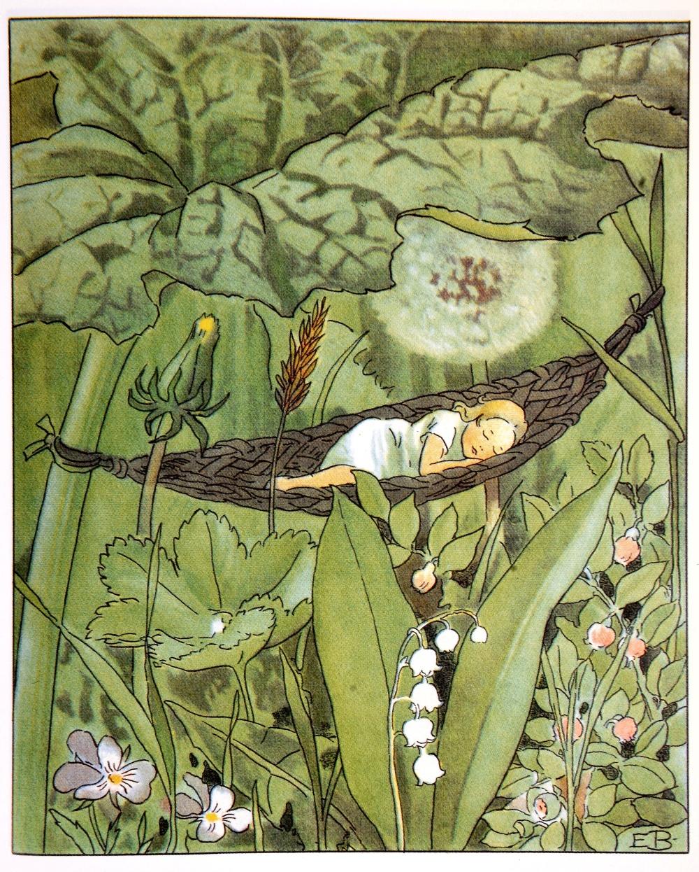 Illustration ur Tummelisa (saga text H. C. Andersen och bilder Elsa Beskow.  © Elsa Beskow