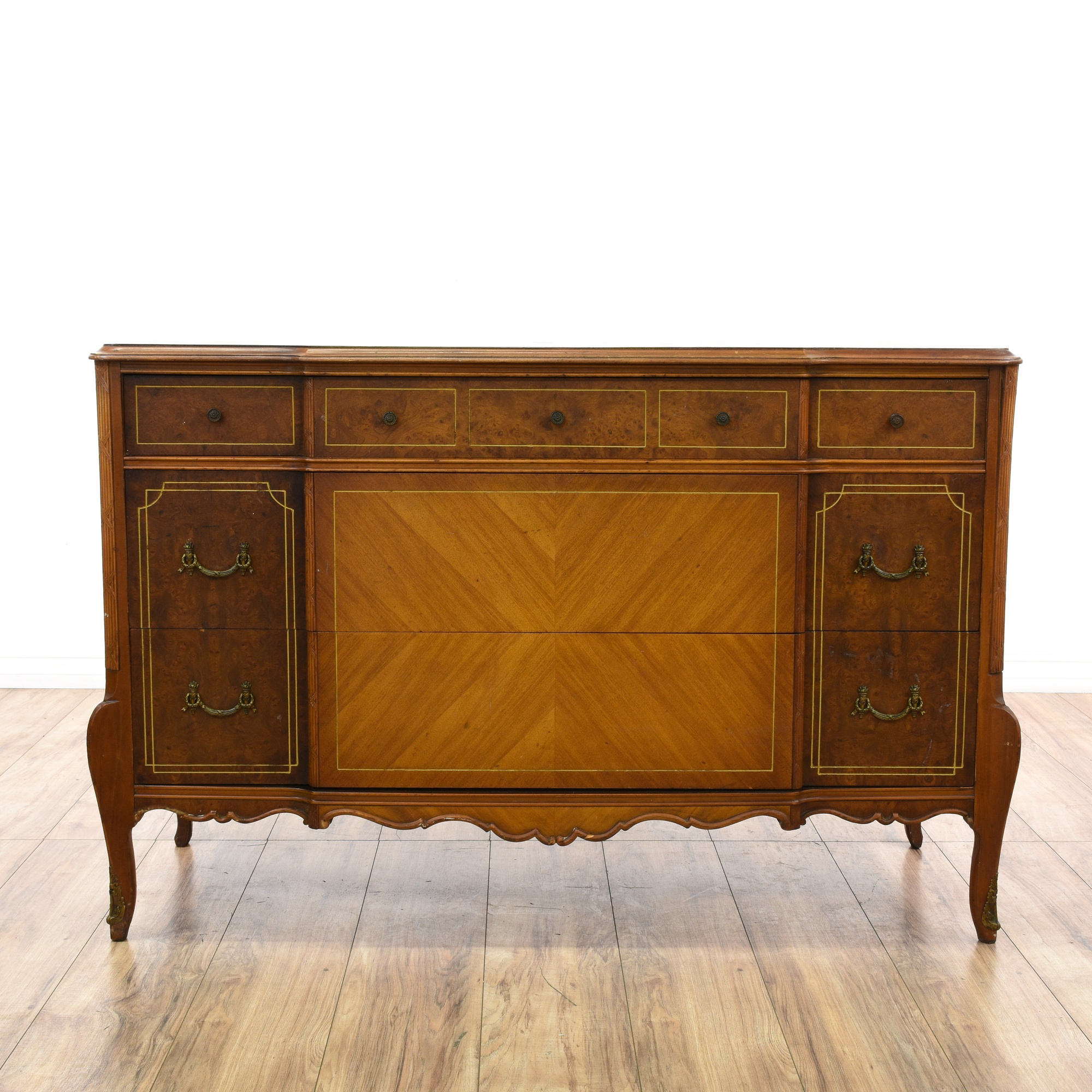 Antique burl wood marquetry dresser loveseat vintage for Reclaimed wood furniture los angeles