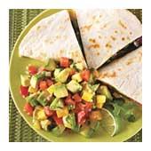 Shrimp-and-poblano quesadillas