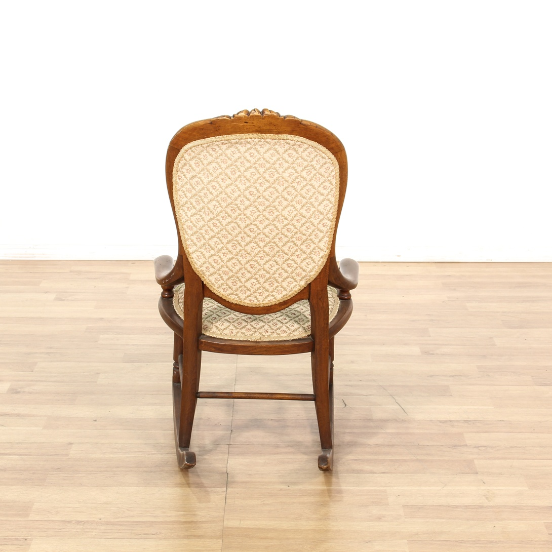 Victorian Wood Base Rocking Chair W Arms Loveseat Vintage Furniture San Diego Los Angeles