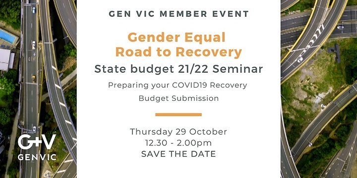 A Gender Equal Road to Recovery - State Budget 21/22 Seminar Event Banner