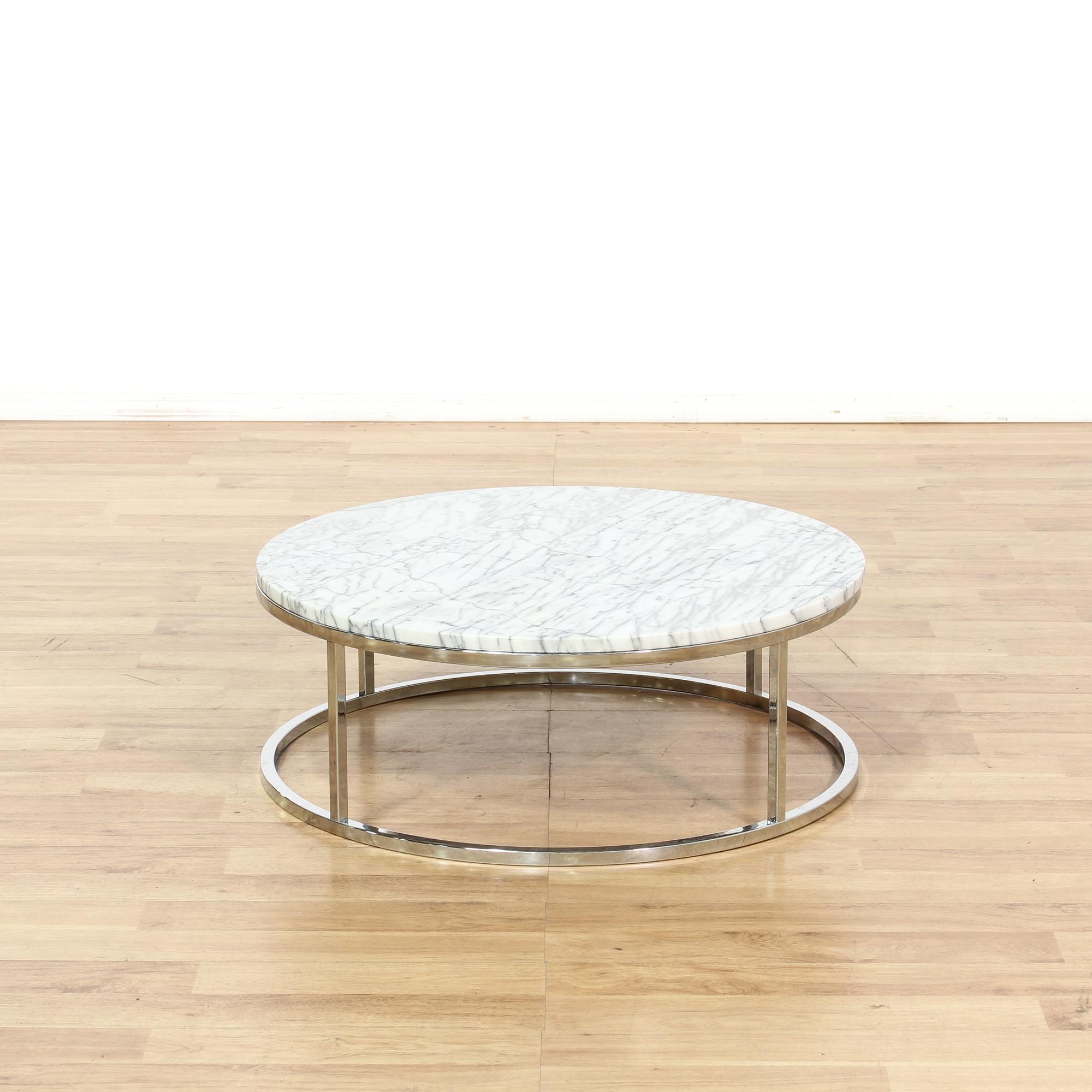 Chrome Marble Round Coffee Table Loveseat Vintage Furniture San Diego Los Angeles