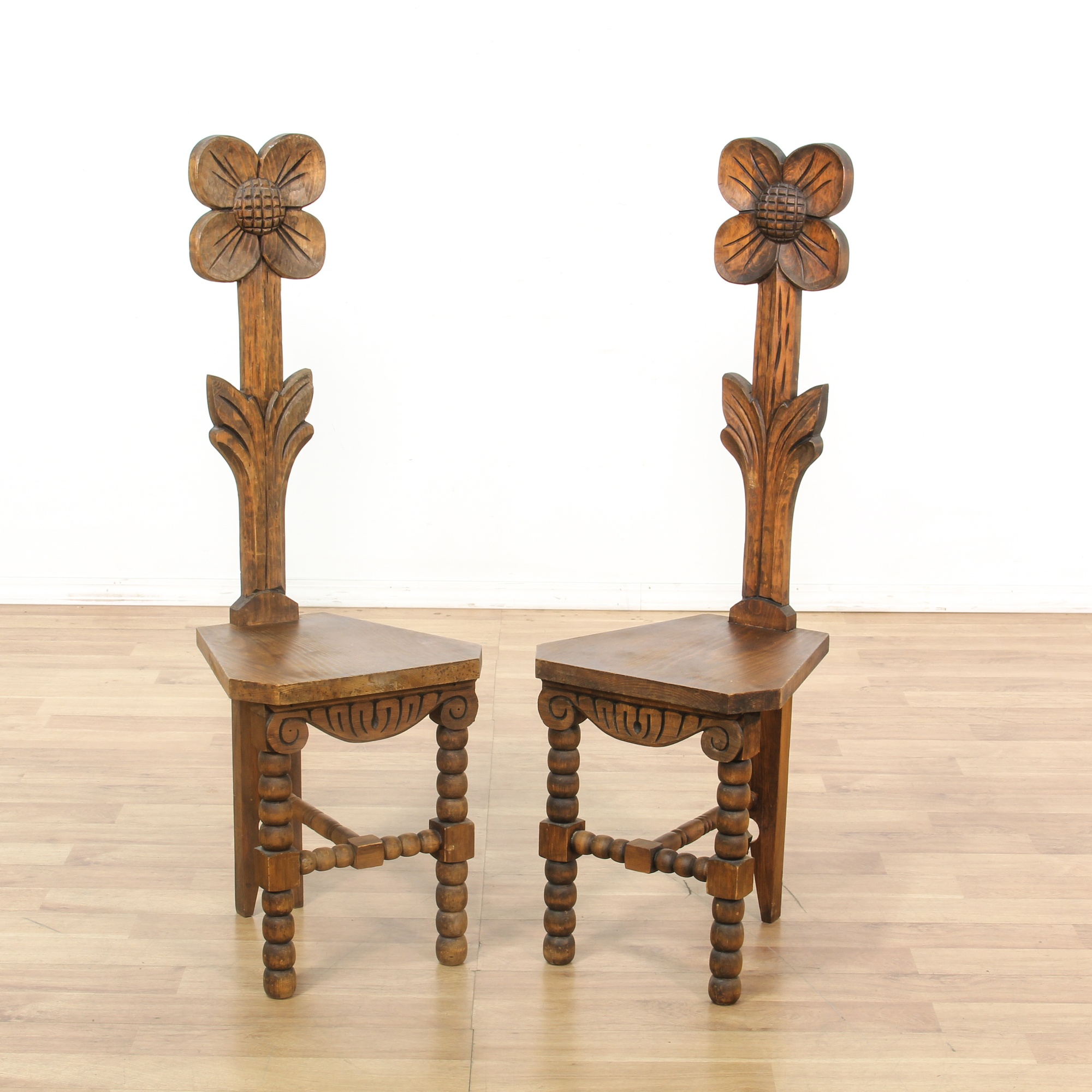 Pair Of Tall Carved Flower Back Accent Chairs Loveseat