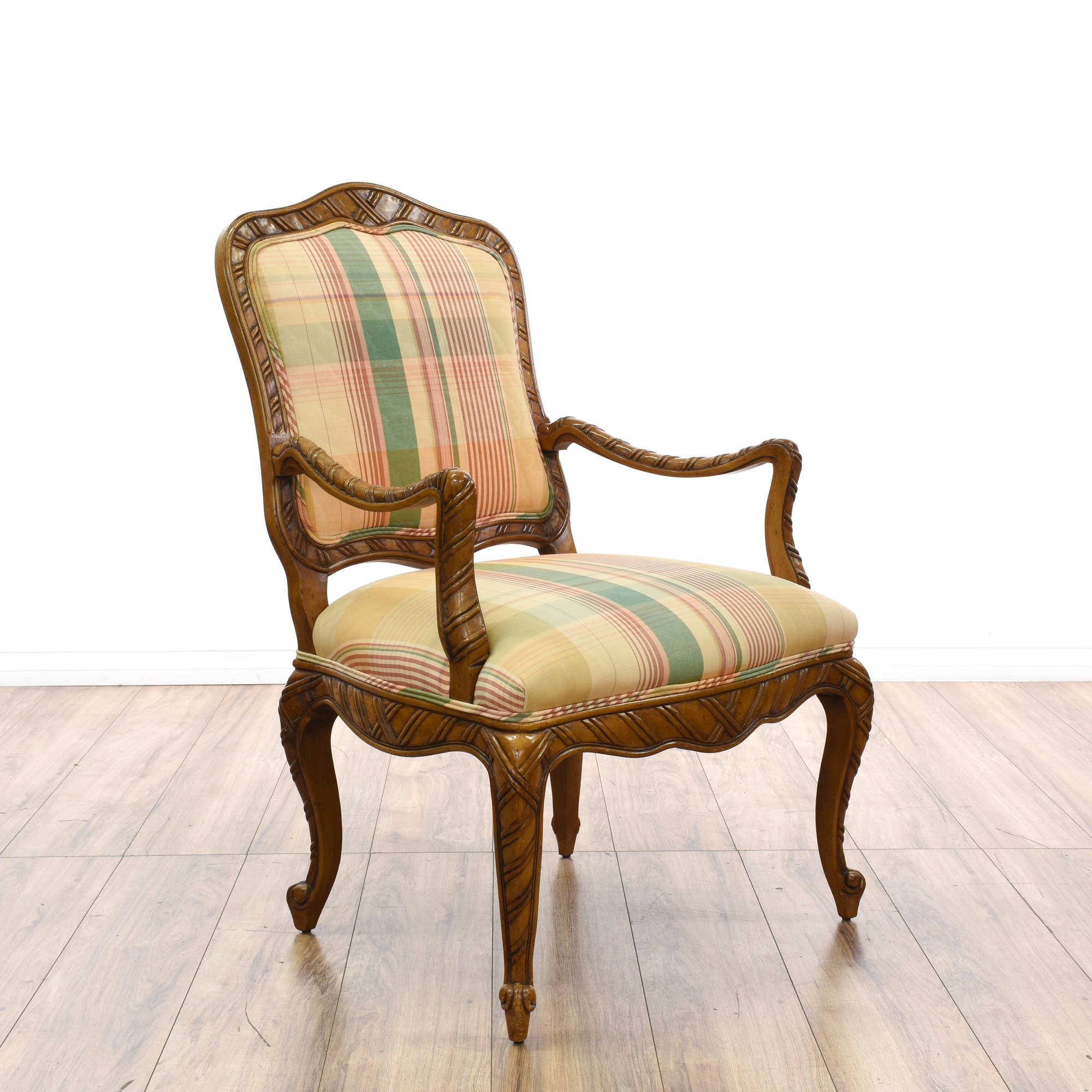 Pair of Madras Plaid Bergere Style Chairs   Loveseat ... - photo#24