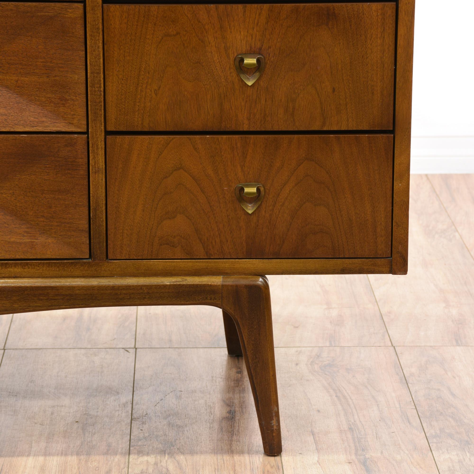 United mid century modern walnut inset dresser for Mid century modern furniture san francisco