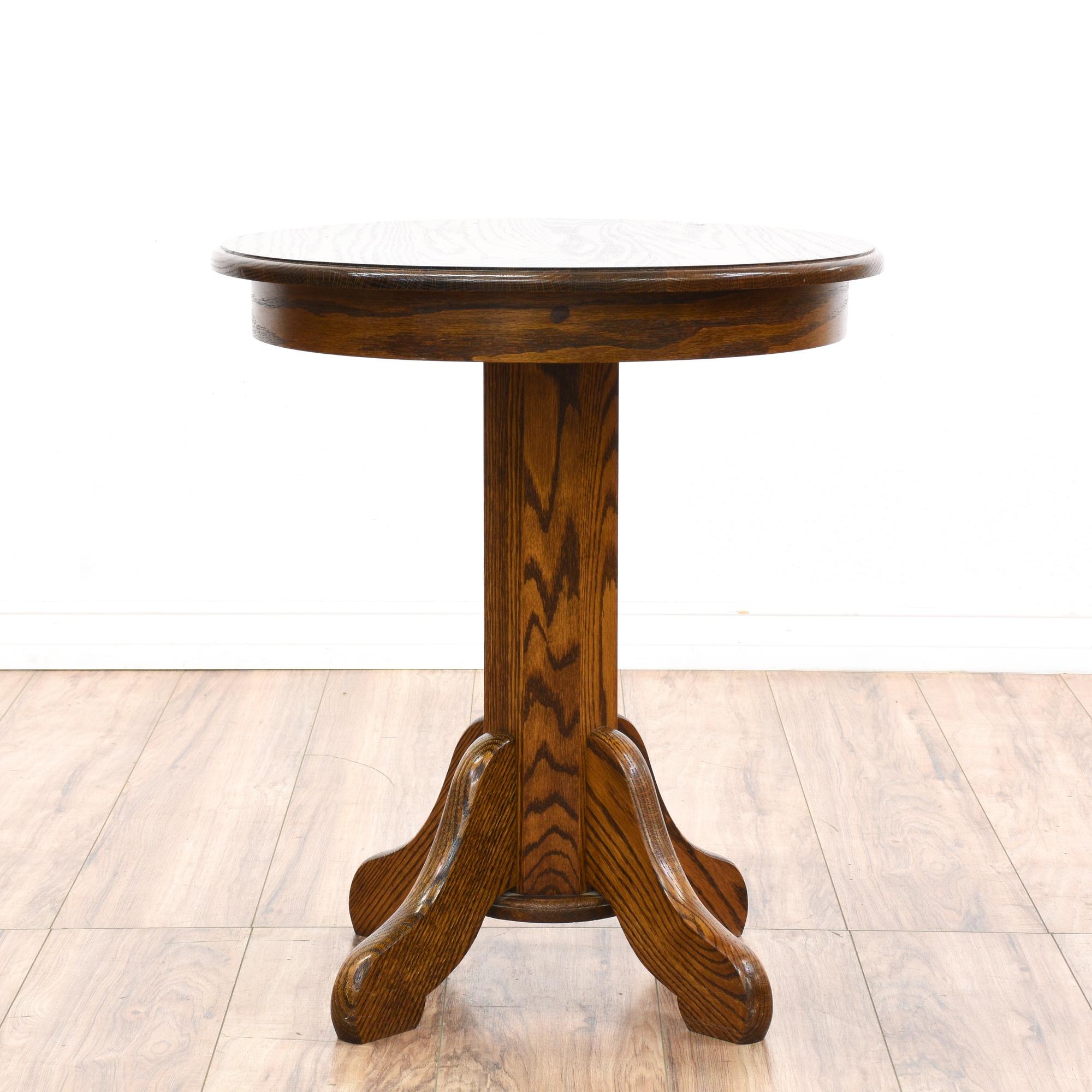 round oak pedestal end table loveseat vintage furniture san diego los angeles. Black Bedroom Furniture Sets. Home Design Ideas