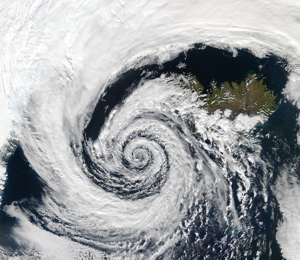 Spiral hurricane seen from space.