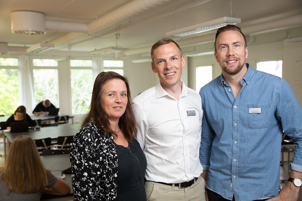 Maria Skogsberg, Johan Skeppstedt och Daniel Brokvist på Vittra Kungshagen i Nyköping