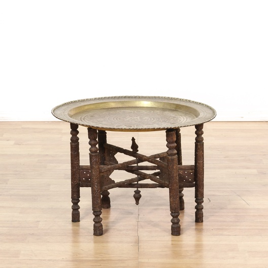 outlet store 10125 762fa Bohemian Carved Wood Brass Tray End Table | Loveseat.com Los Angeles