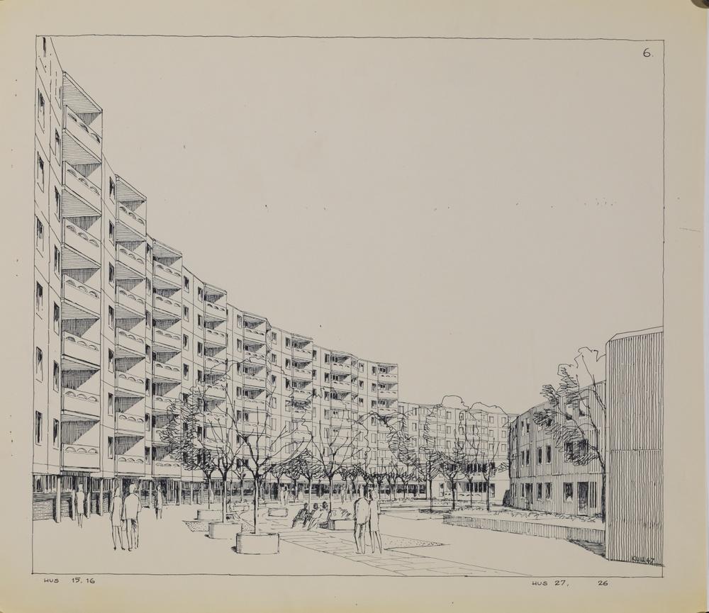 Gustav Kull, Illustration. Eric Ahlin, arkitekt Navestad, bostadsområde i Norrköping, 1967  Bläck på papper. ArkDes samlingar