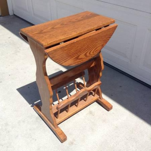 Small Wood Vintage End Table W Magazine Rack