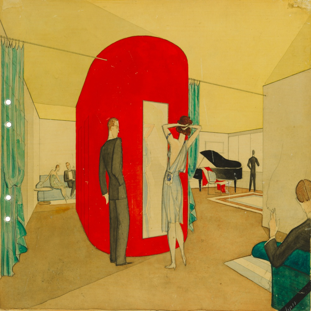 Apartment, Stockholm exhibition 1930. Color perspective.