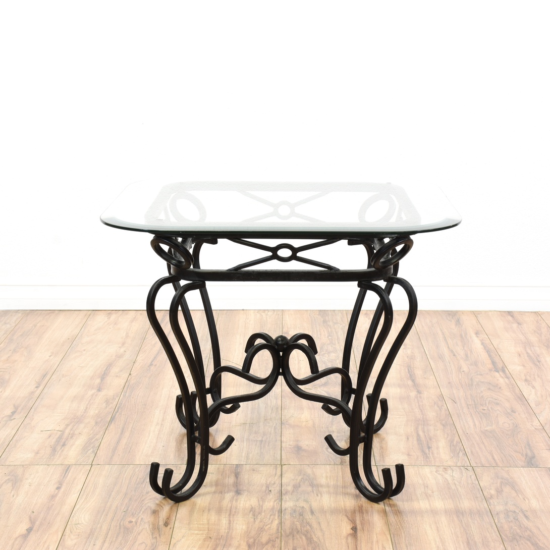 Black Wrought Iron Glass Top End Table Loveseat Vintage Furniture San Diego Los Angeles