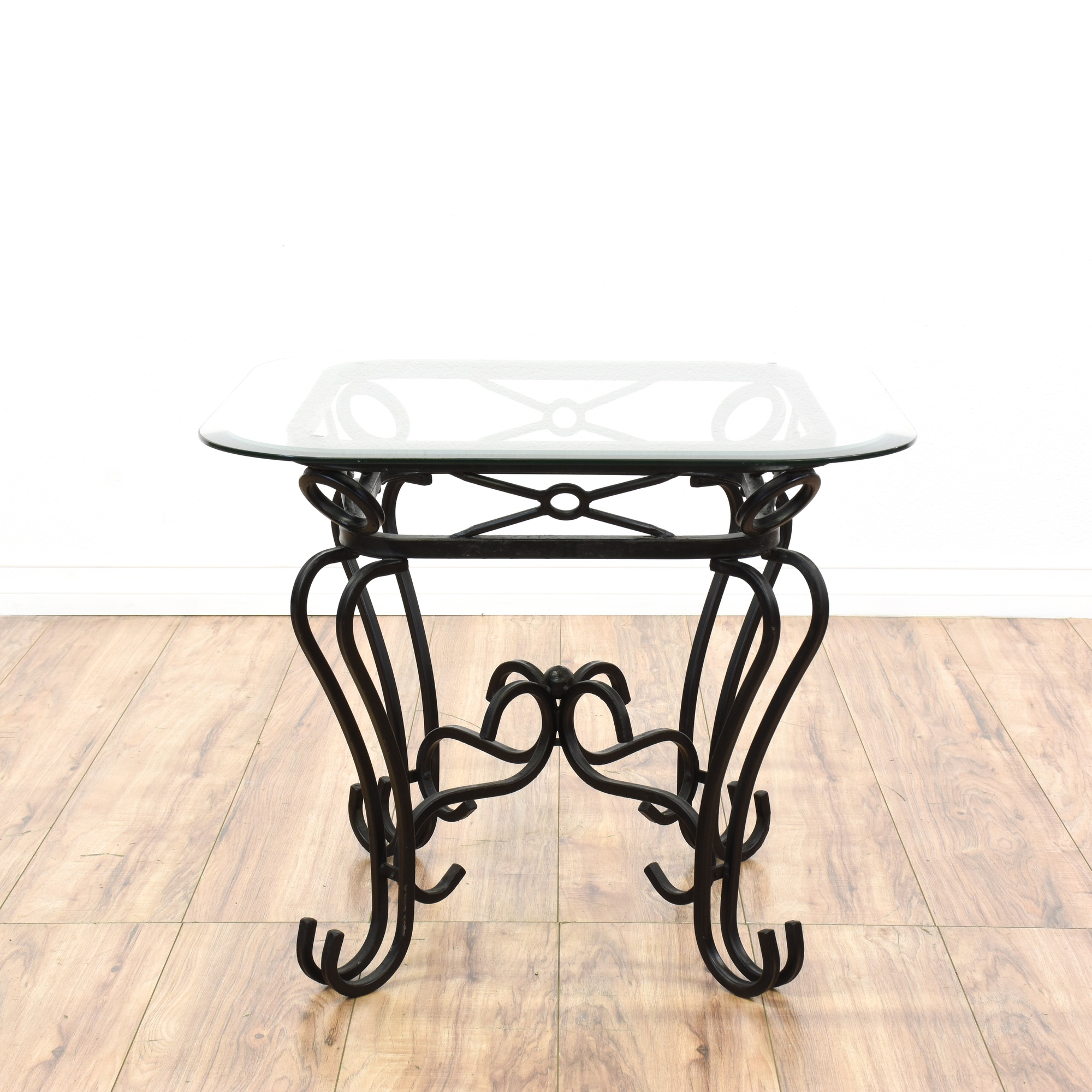 black wrought iron glass top end table loveseat vintage furniture san diego los angeles. Black Bedroom Furniture Sets. Home Design Ideas