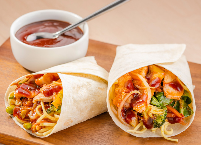 Lion's Japanese teriyaki and barbecue sauce chicken noodle wrap