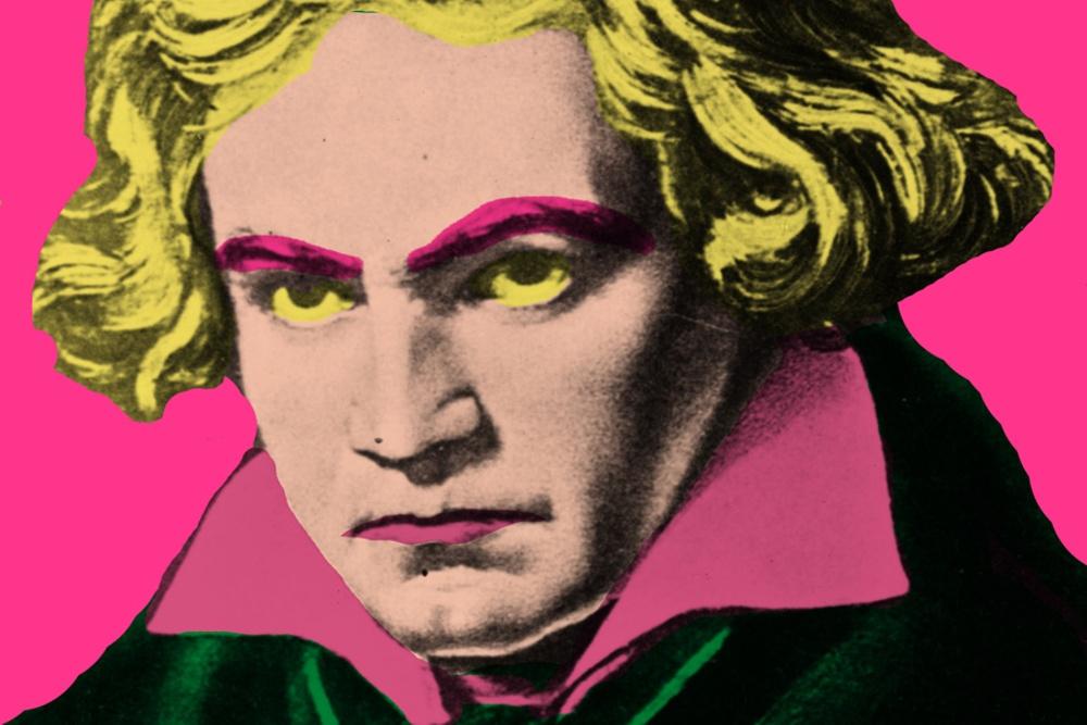 Popkonstversion av ett porträtt av Beethoven.