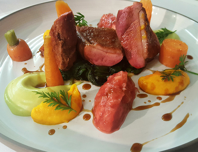 Goosnargh duck breast, wild garlic, rhubarb, salt-baked carrot by Andy Tabberner at the Bull at Beaumaris