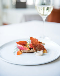 Sautéed duck liver, peach, almond and ginger