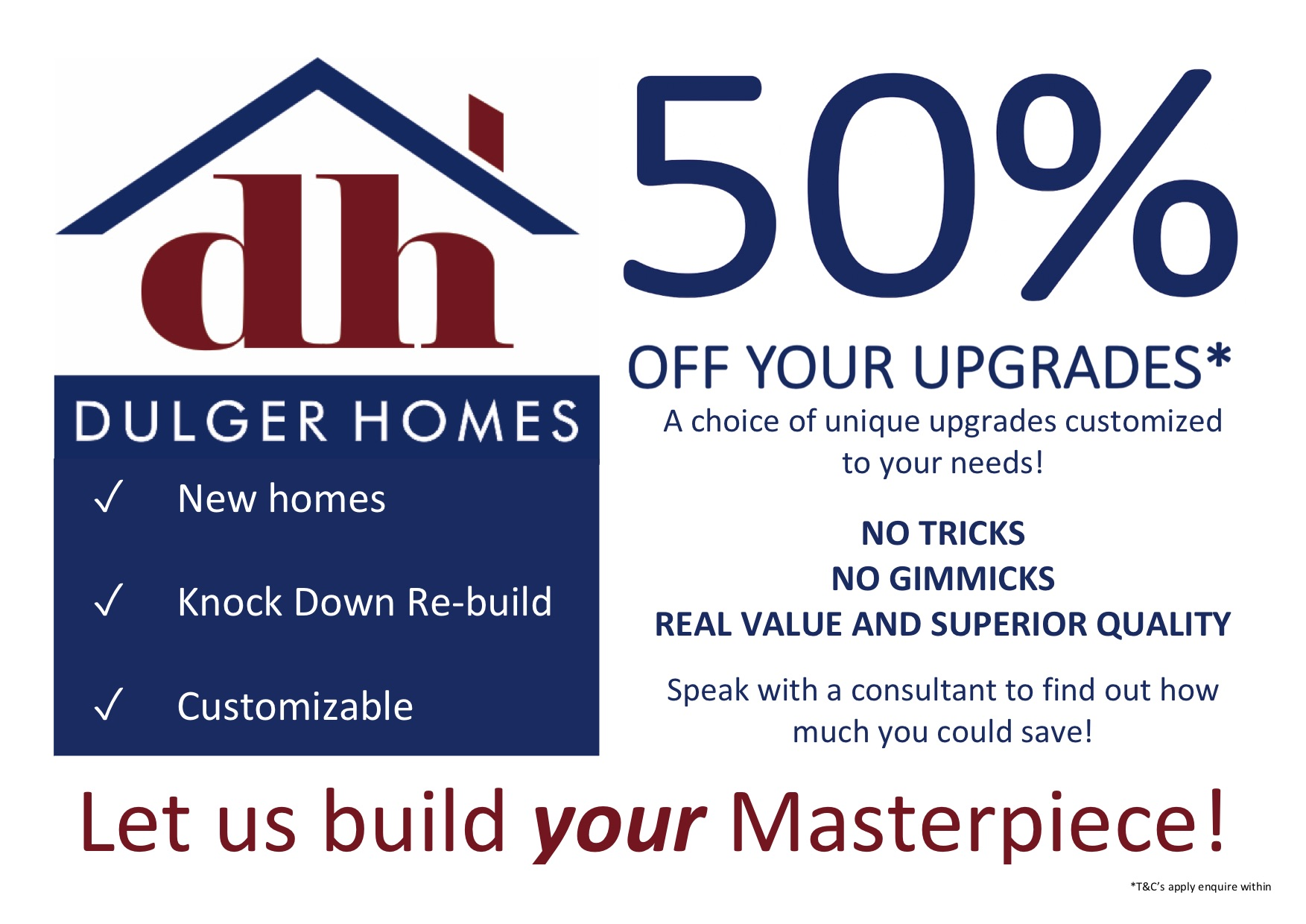 50% off your upgrades!*