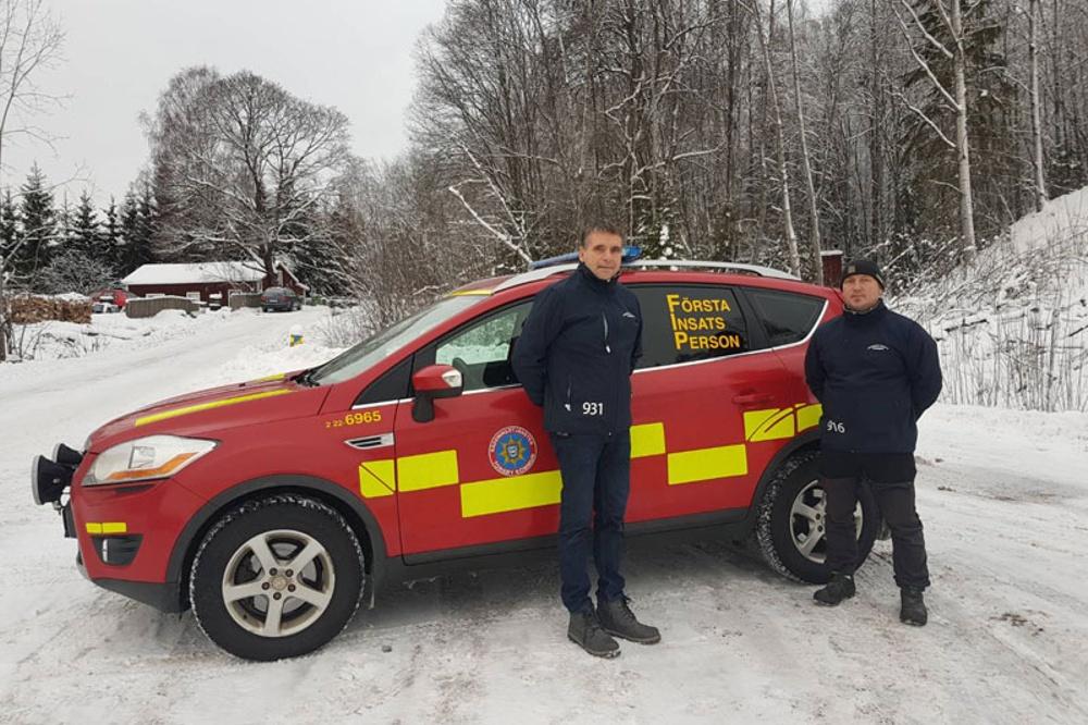 Två brandmän Arne Nyberget och Stefan Henriksson