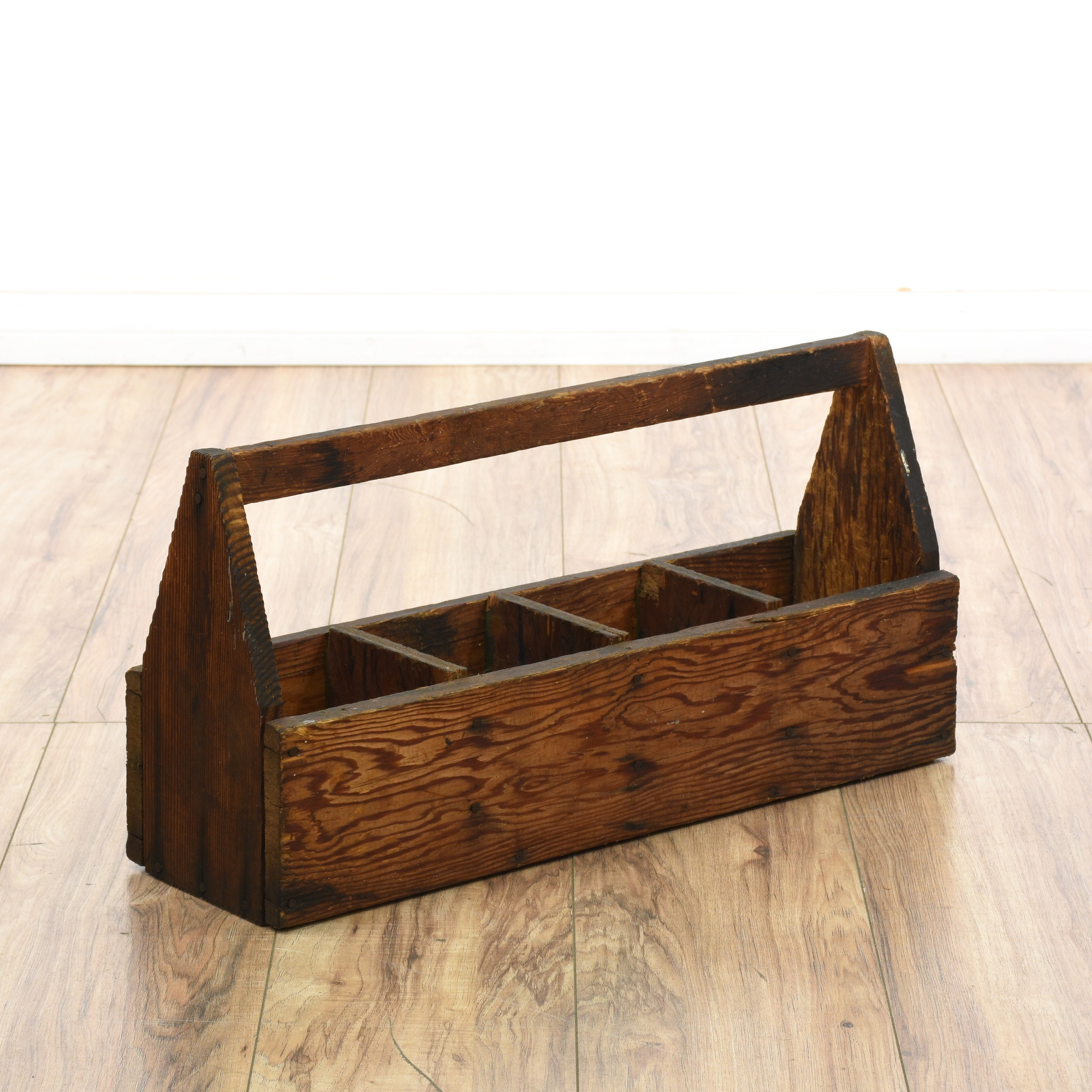 Basket Making Supplies San Diego : Rustic vintage stained pine tool box loveseat