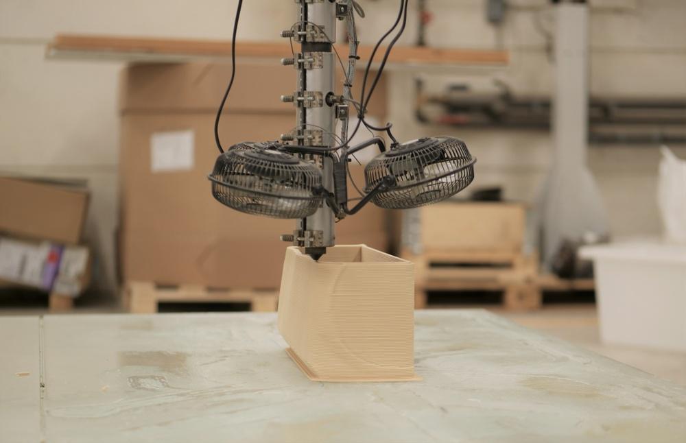 3D-utskift med ett träbaserat material kallat biokompisit hos The Wood Region. Foto: Paper Province
