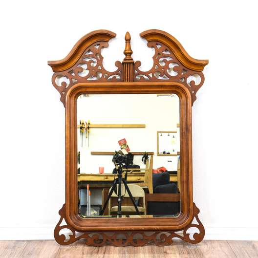 Cherry Carved Chippendale Style Mirror