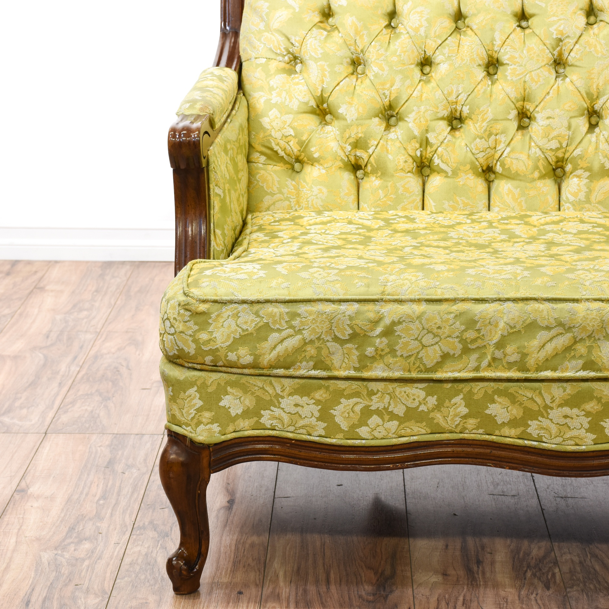 Yellow Green Floral Tufted Loveseat Sofa