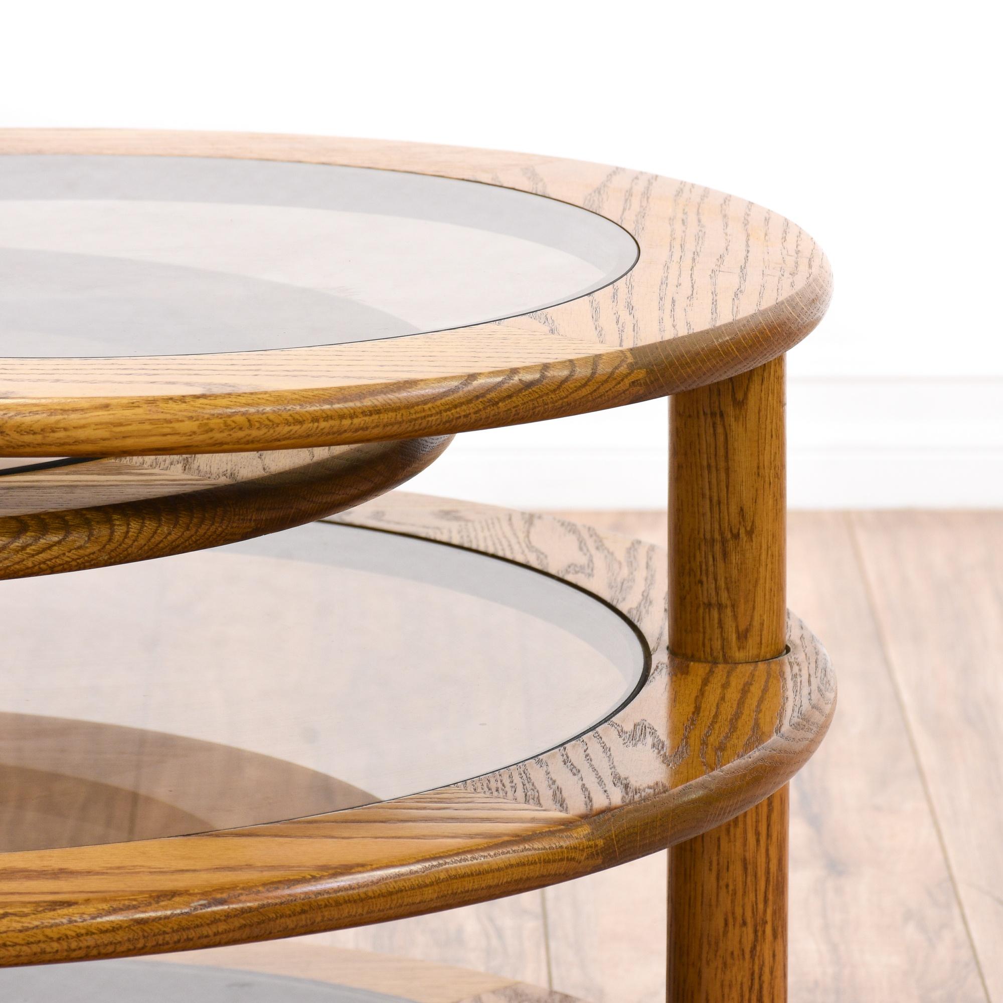 glass oak round swivel coffee table loveseat vintage