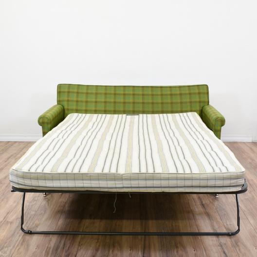 Green Plaid Sleeper Sofa Loveseat Vintage Furniture San