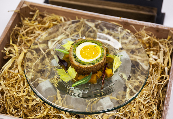 Tom Bradley's Bantam Scotch egg, cucumber and pear end piccalilli</p><p>with forgotten leaves