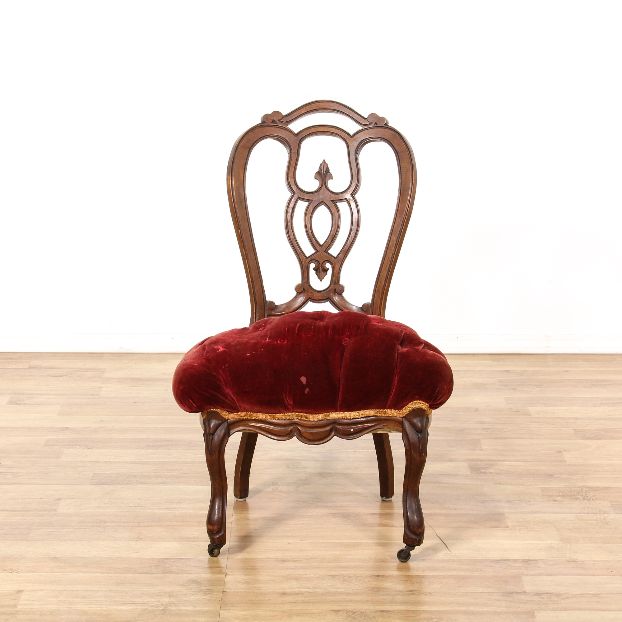Red upholstered victorian side chair loveseat vintage for Victorian furniture los angeles