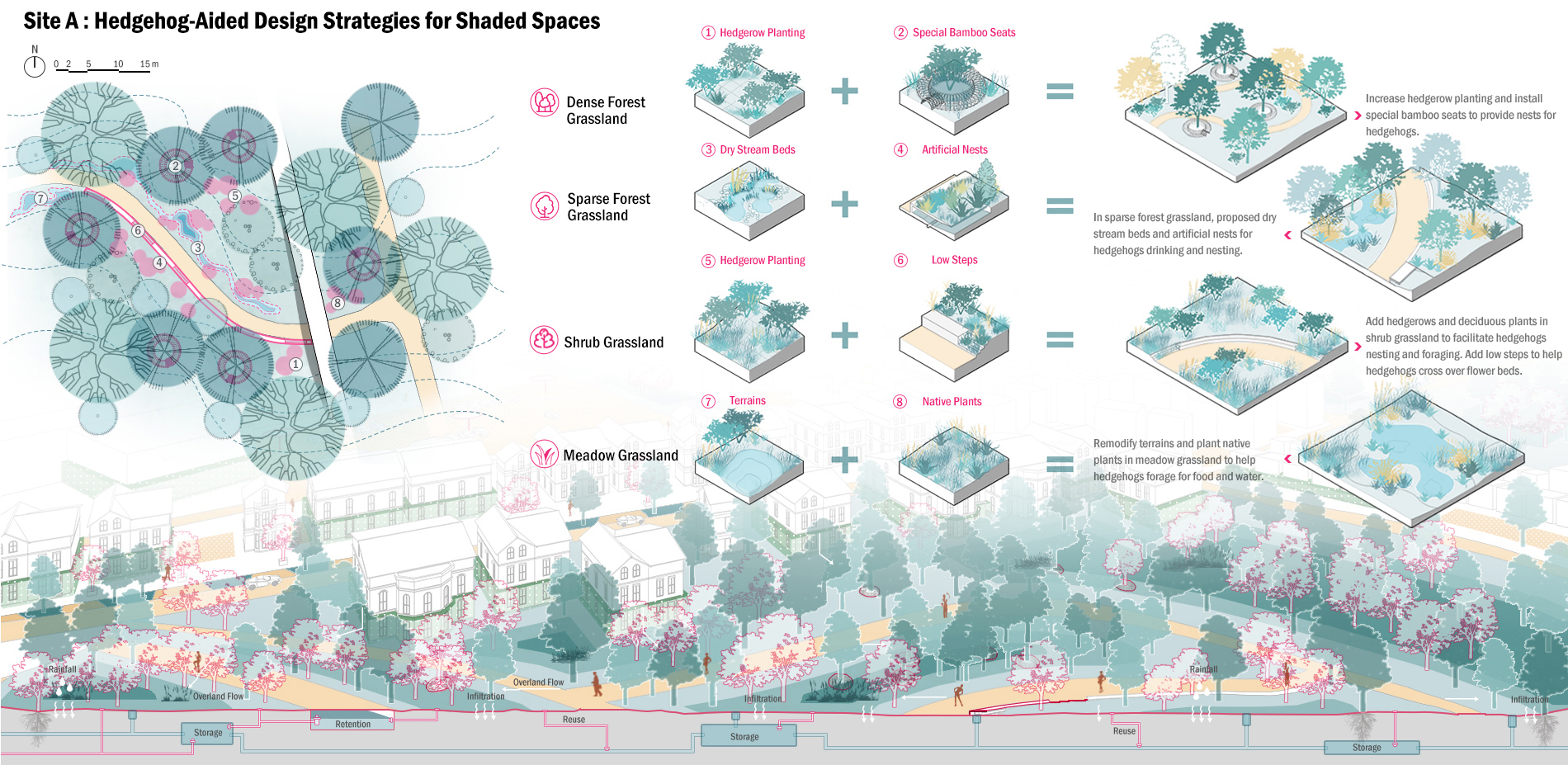 Site A: Hedgehog-Aided Design Strategies for Shaded Spaces
