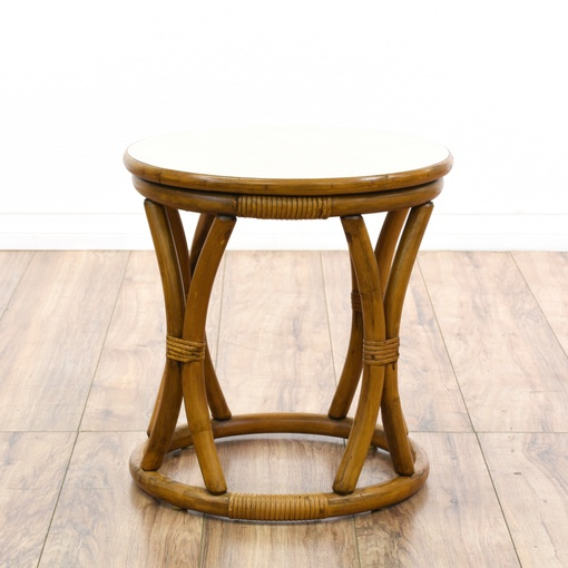 Small Round Honey Rattan End Table Loveseat Vintage