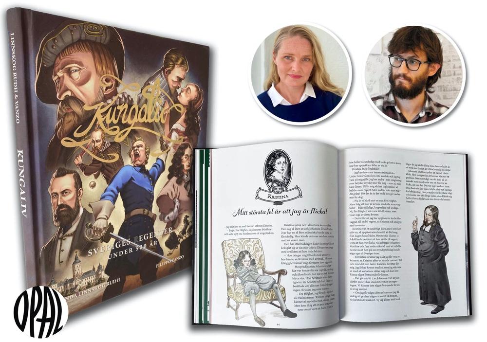 Författaren Linda Linnskog Rudh och illustratören Filippo Vanzo har väckt liv i Sveriges kungar och drottningar i boken Kungaliv – Sveriges regenter under 500 år.