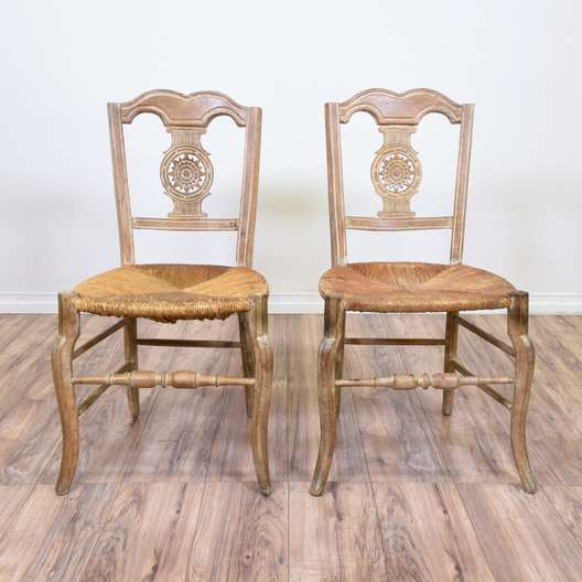 Pair of Carved Light Wood Rush Seat Chairs